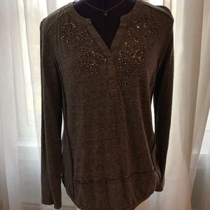 Anthropologie Sparkly v-neck Top!  Beautiful!